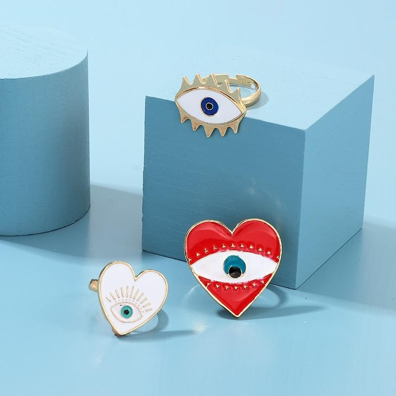 New Fashion Alloy Drop Oil Devi's Eye Ring NHNZ157517