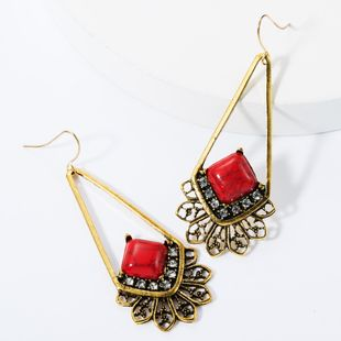 Geometric long alloy lace-studded turquoise earrings NHJE157522's discount tags