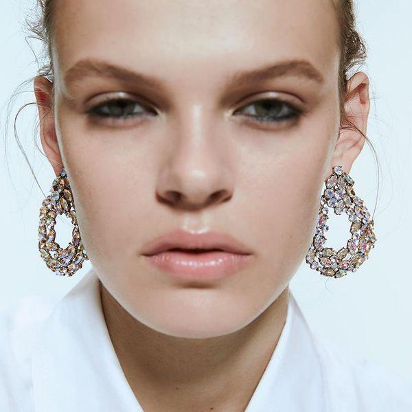 Alloy diamond geometric earrings NHJQ157529