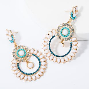 Fashion multi-layer diamond-studded resin lace earrings NHJE157530's discount tags