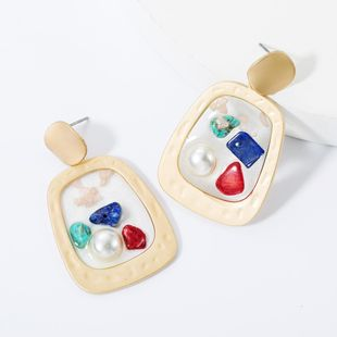 Fashion Alloy Resin with Pearl Turquoise Earrings NHJE157536's discount tags