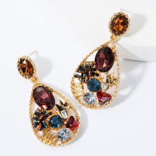 Alloy drop-shaped diamond earrings NHJE157539's discount tags