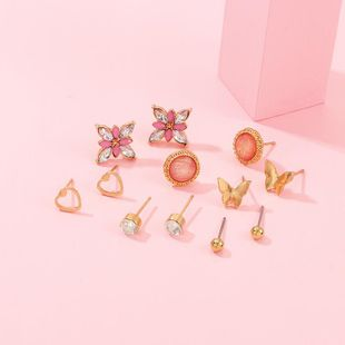 Cute Butterfly Love Flower Small Earring Set NHNZ157543's discount tags