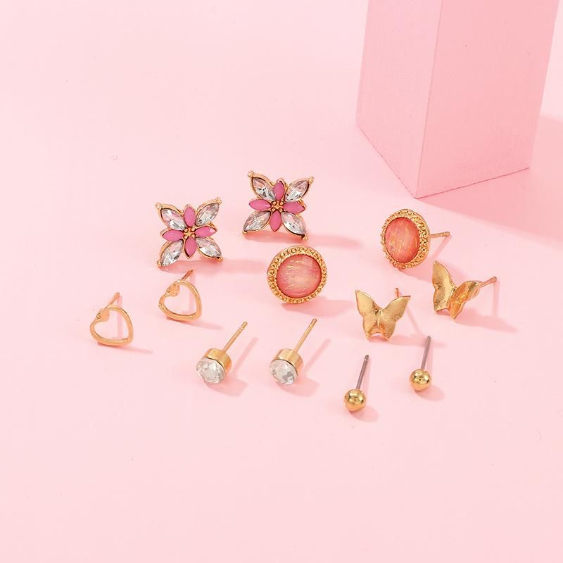 Cute Butterfly Love Flower Small Earring Set NHNZ157543