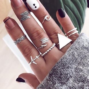 Flower leaf alloy airplane geometric ring NHNZ157551's discount tags