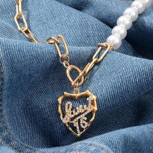 Fashion metal pearl chain love letter diamond necklace NHNZ157553's discount tags