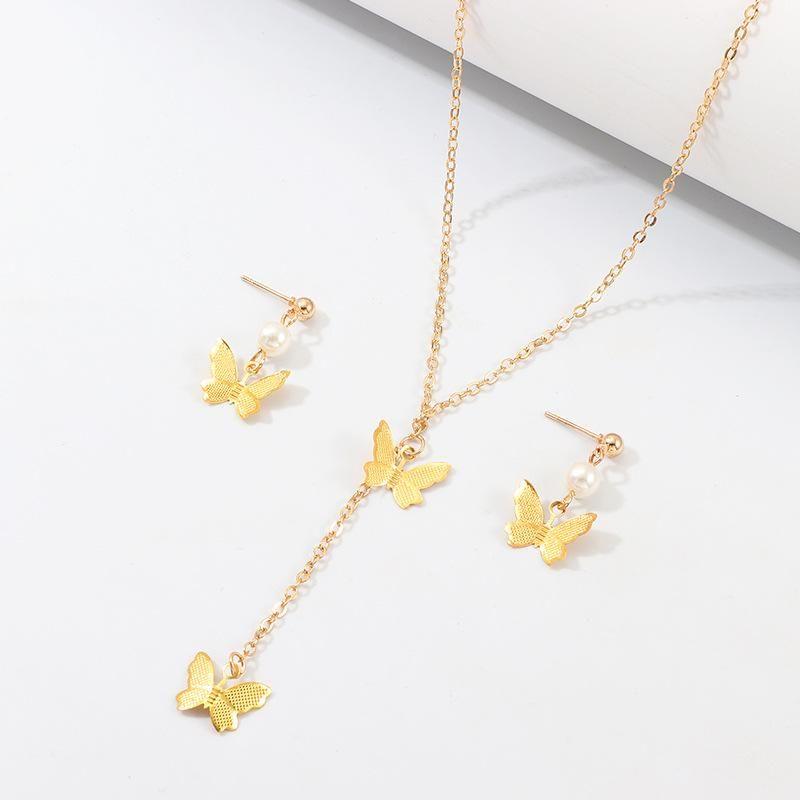 Conjunto de pendientes de collar de mariposa de aleación simple y elegante NHNZ157555