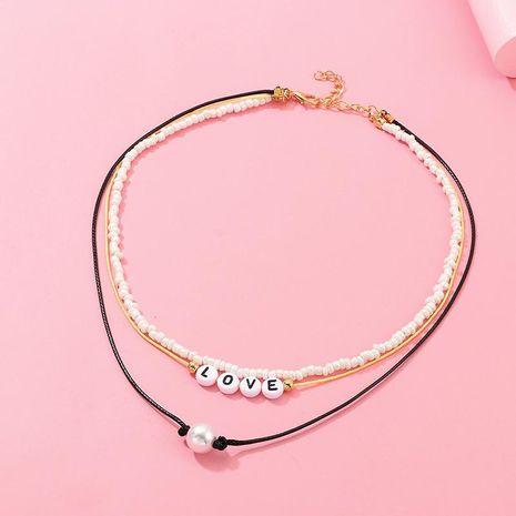 Collar de AMOR de perlas de arroz blanco de perlas tejidas a mano NHNZ157557's discount tags