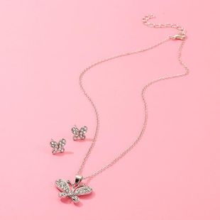 Sweet butterfly studded stud earrings necklace set NHNZ157558's discount tags