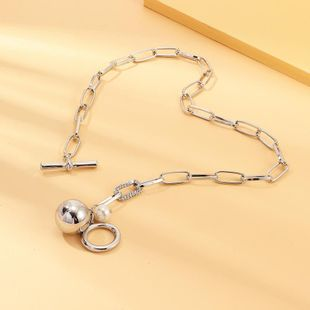 Fashion heavy metal silver ball chain necklace NHNZ157560's discount tags