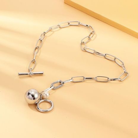 Collar de cadena de bola de plata de metal pesado de moda NHNZ157560's discount tags