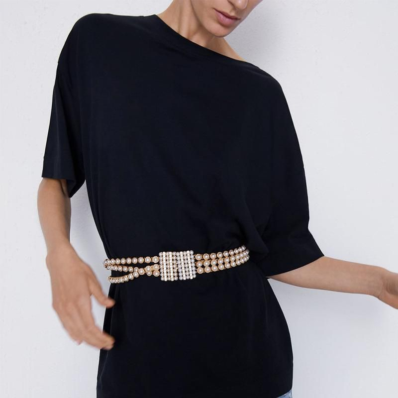 Cinturón de diamantes de moda con cadena de perlas de aleación NHJQ157561