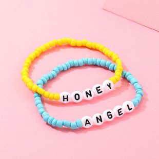 New fashion candy color rice beads letter HONEY ANGEL bracelet NHNZ157568's discount tags