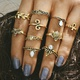 Vintage Ten Piece Joint Ring Turtle Starfish Ring Set NHPJ157428