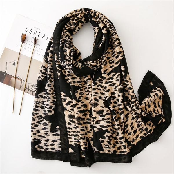 Cotton and linen shawl scarves leopard five-pointed star scarf NHGD157612