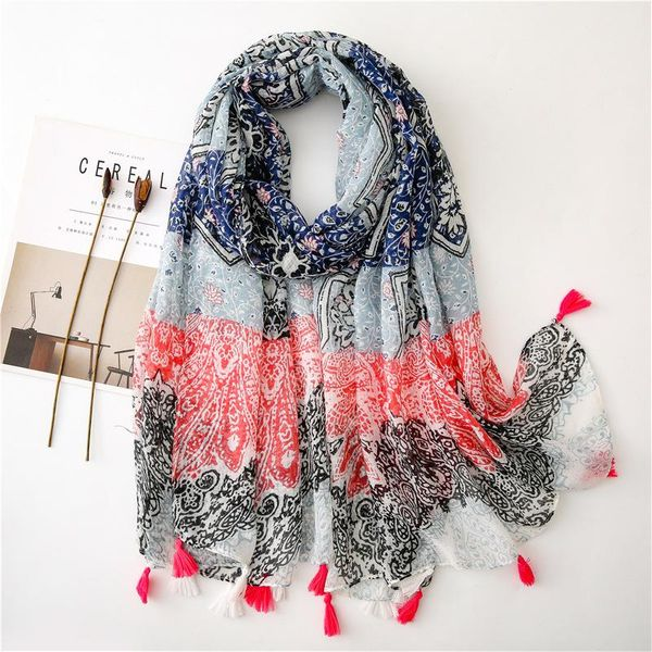 Light blue crushed flower long silk scarf scarves cotton scarf NHGD157615