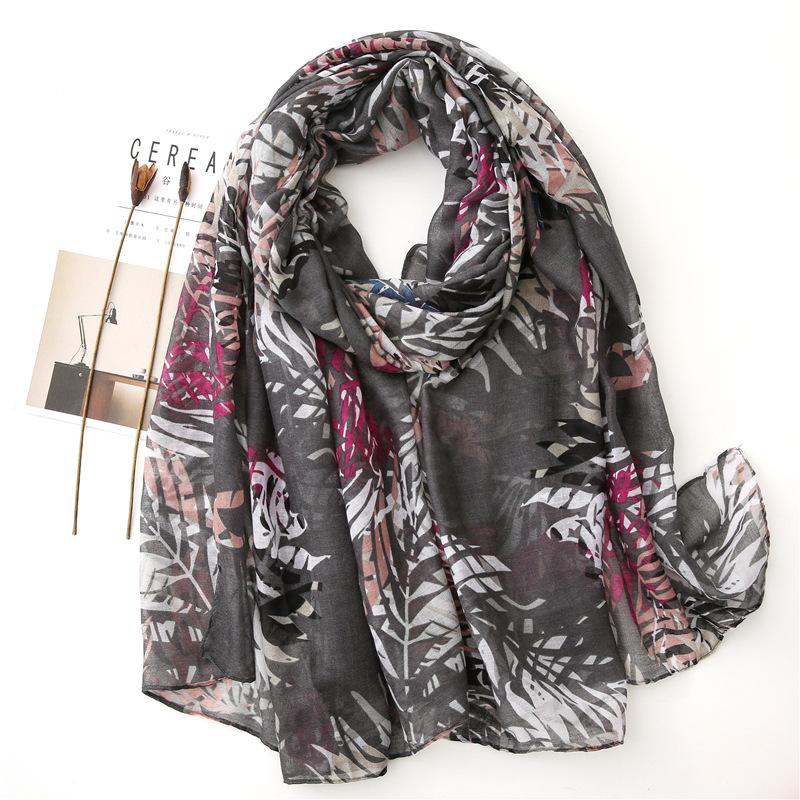 Olive green leaf printed cotton and linen scarf shawl NHGD157619