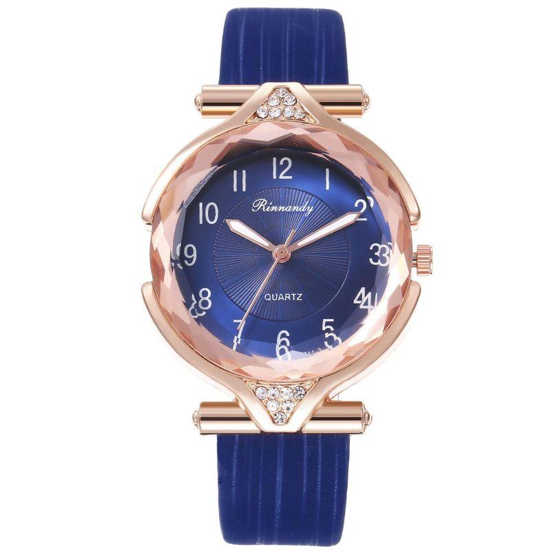 Fashion prismatic glass digital scale with diamond belt quartz watch NHHK157658