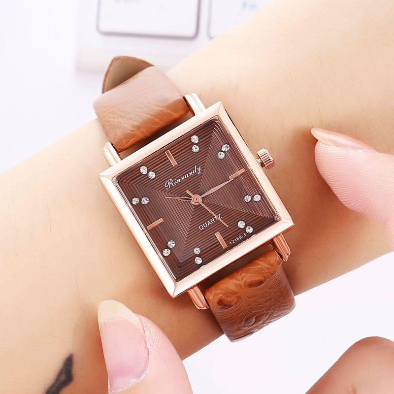 Creative square head artificial gemstone belt quartz watch NHHK157667