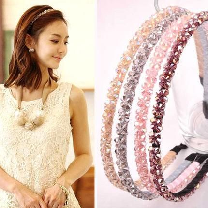 Explosion models double row crystal wide side rhinestone headband NHOF157702's discount tags