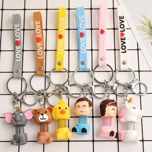 Creative spring doll metal keychain NHCB157715's discount tags