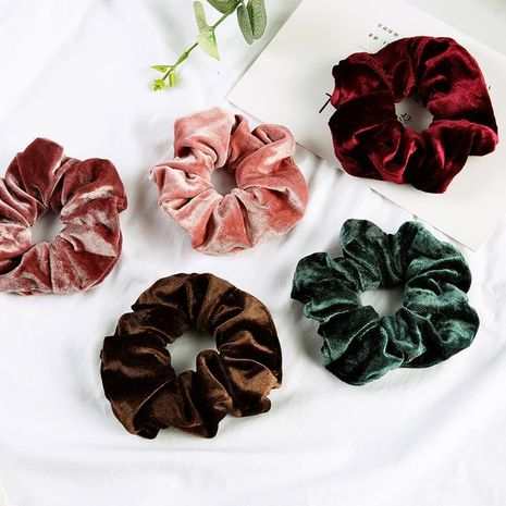 Solid color large head hair flower head rope NHOF157719's discount tags