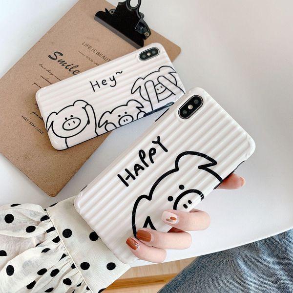 Cartoon happy pig hand painted apple 7 phone case NHDV157745