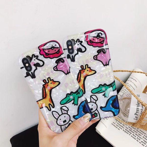 Cartoon apple 7plus shellfish zoo phone case NHDV157756