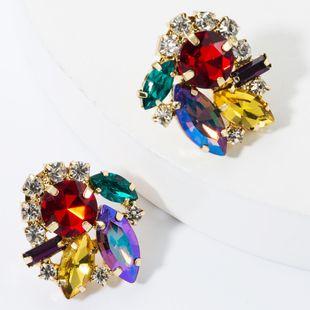 Fashion color diamond super flash stud earrings NHJE157779's discount tags
