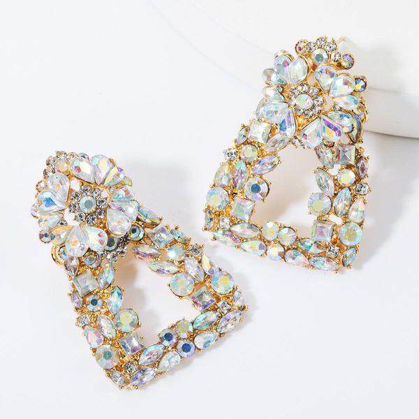 Aretes de diamantes florales trapezoidales de aleación de múltiples capas de moda NHJE157782