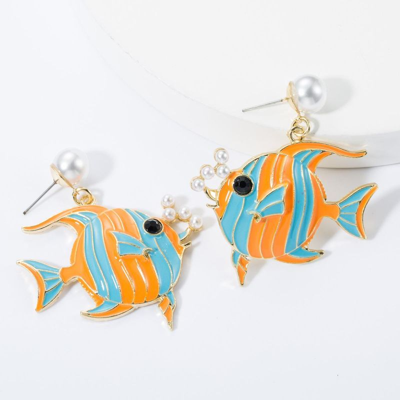 Alloy Drop Oil with Pearl Tropical Fish Earrings NHJE157789