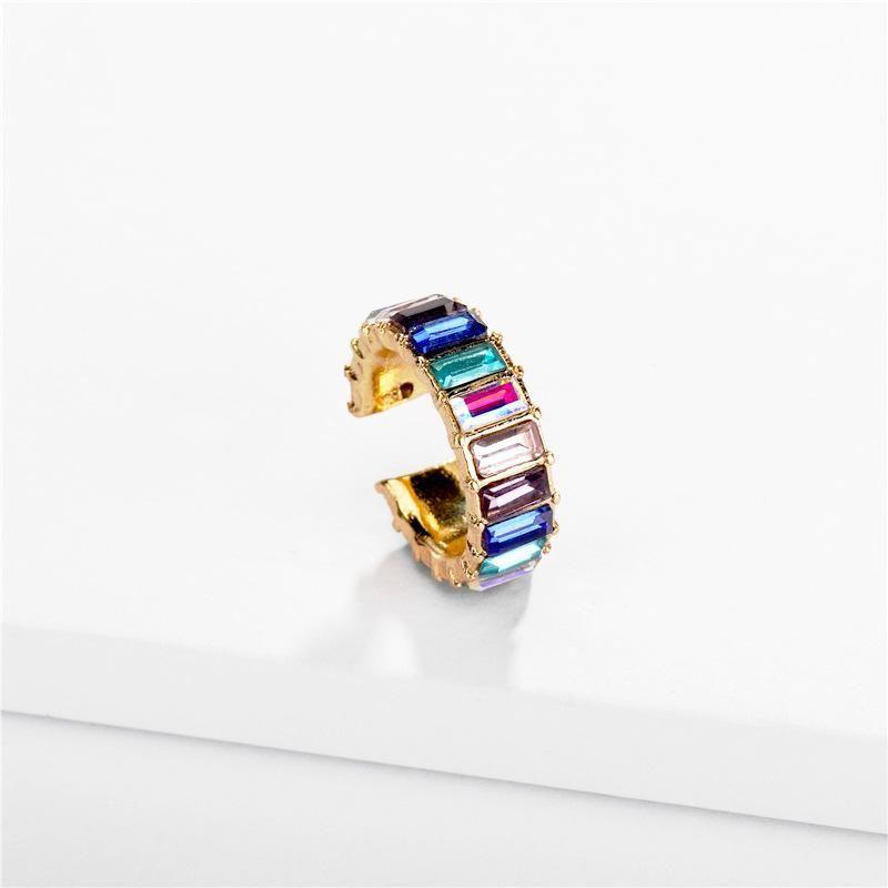 Alloy geometric color Tdrill crystal ear cuff NHLU157790
