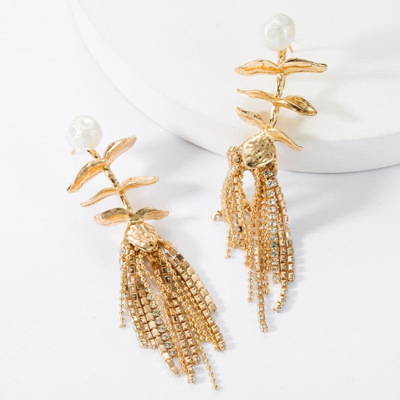 Alloy leaf imitation pearl flower rhinestone tassel earrings NHJE157794