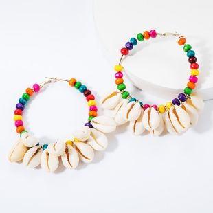 Ring string wooden small bead multi-layer shell earrings NHJE157796's discount tags