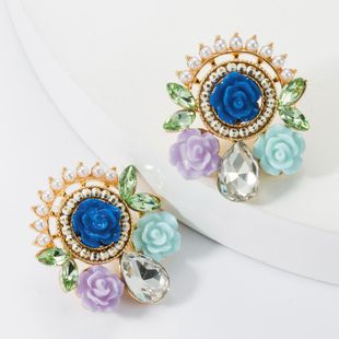 Alloy resin flower pearl studded stud earrings NHJE157798's discount tags