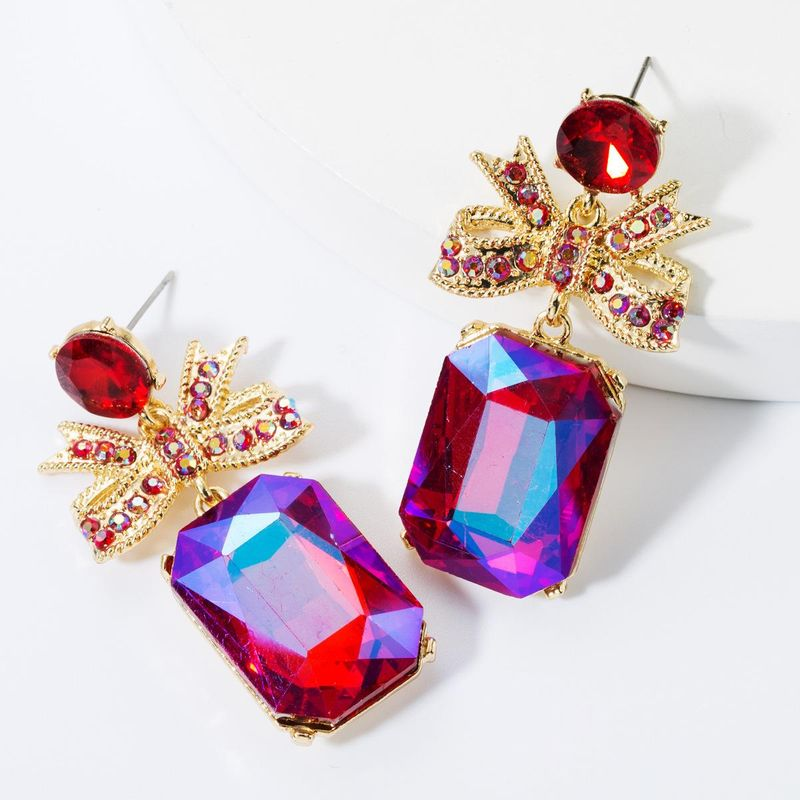 Alloy bow square diamond earrings NHJE157799