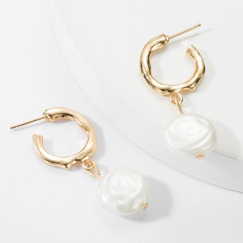 Fashion C-shaped alloy flat round imitation pearl earrings NHJE157801