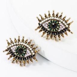 Alloy Diamond Rhinestone Acrylic Eye Stud Earrings NHJE157802