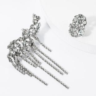 Fashion Claw Chain Rhinestone Studded Tassel Asymmetric Earrings NHJE157804's discount tags