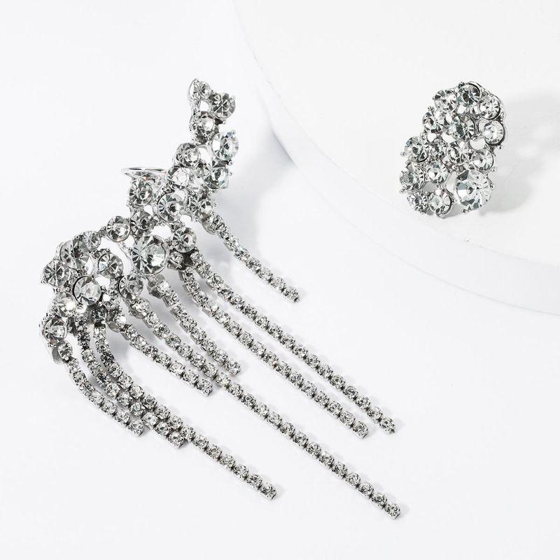 Fashion Claw Chain Rhinestone Studded Tassel Asymmetric Earrings NHJE157804