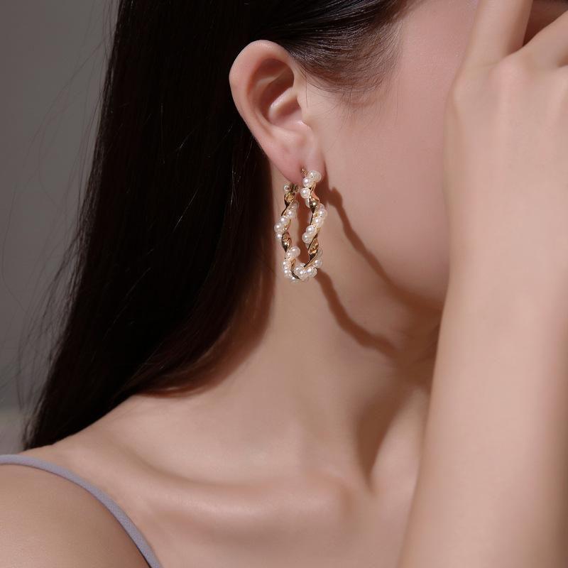 Fashion Wrapped Pearl Stud Earrings NHDP157807