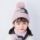 Fashion color matching scarf sweet cute letter wool cap NHXO157734