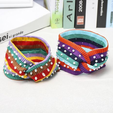 Rainbow stripe knit pearl hair band NHDM157837's discount tags