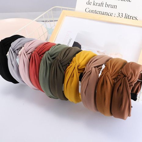 Solid color fabric hand knotted cross headband NHDM157844's discount tags