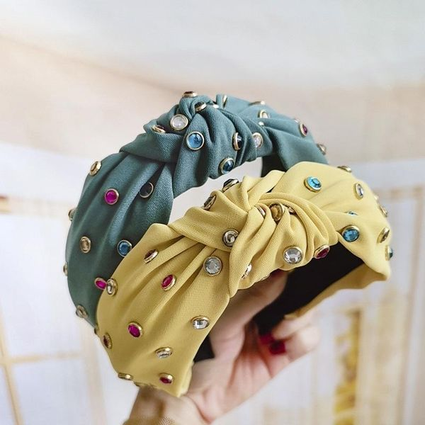 Solid color fabric knotted color diamond headband NHDM157845