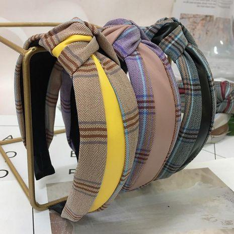 New plaid stitching PU fabric headband NHRH157851's discount tags