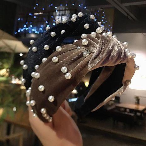 Fashion gold velvet pearl headband NHRH157859's discount tags