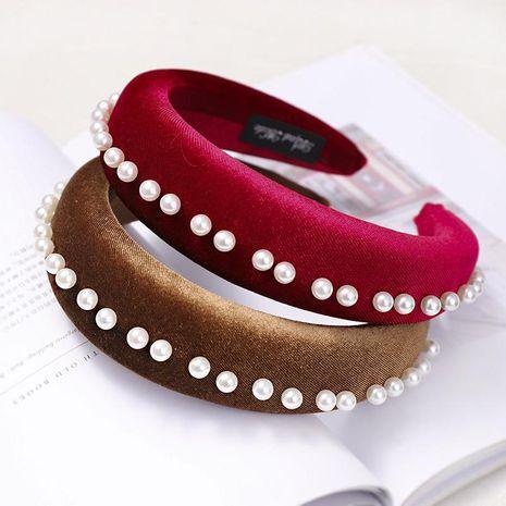 Fashion gold velvet sponge nail pearl headband NHDM157867's discount tags