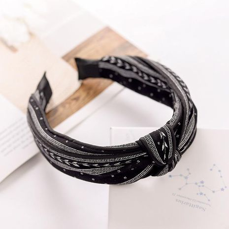 Fashion striped middle knot double headband NHRH157879's discount tags