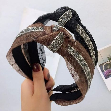 New wide-brimmed rhinestone lace sequin headband NHRH157885's discount tags